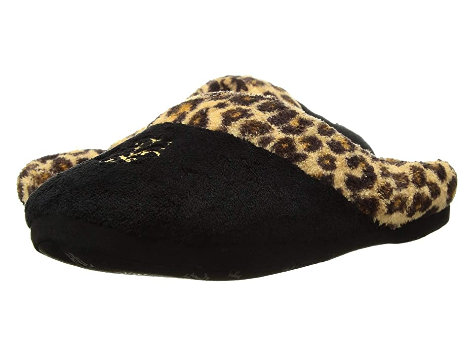 fdface43aea LAUREN Ralph Lauren Cotton Brushed Twill So Soft Fleece Lining Slippers  (Black Leopard)