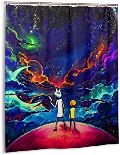 KOKOSTORE Starry Sky Cartoon Rick Morty Shower Curtains Personality Waterproof Resistant 3D Printing Polyester Shower Curtains for Bathroom 60x72 Inch 12 Plastic Hooks