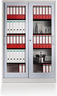 Mauser Armoire à portes coulissantes - façade vitrée, 4 tablettes - h x l x p 1950 x 1200 x 420 mm, gris clair / aluminium...