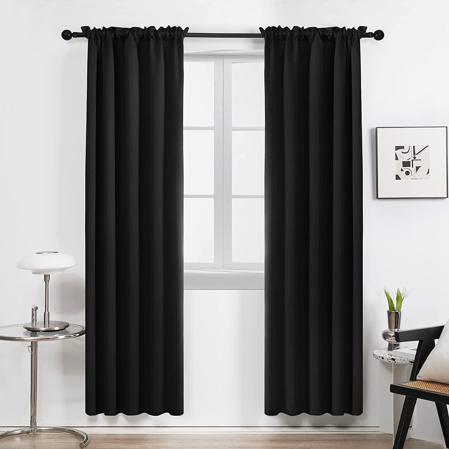 Deconovo Black Rod Pocket favorite Thermal safety Curtains Wi Insulated Blackout