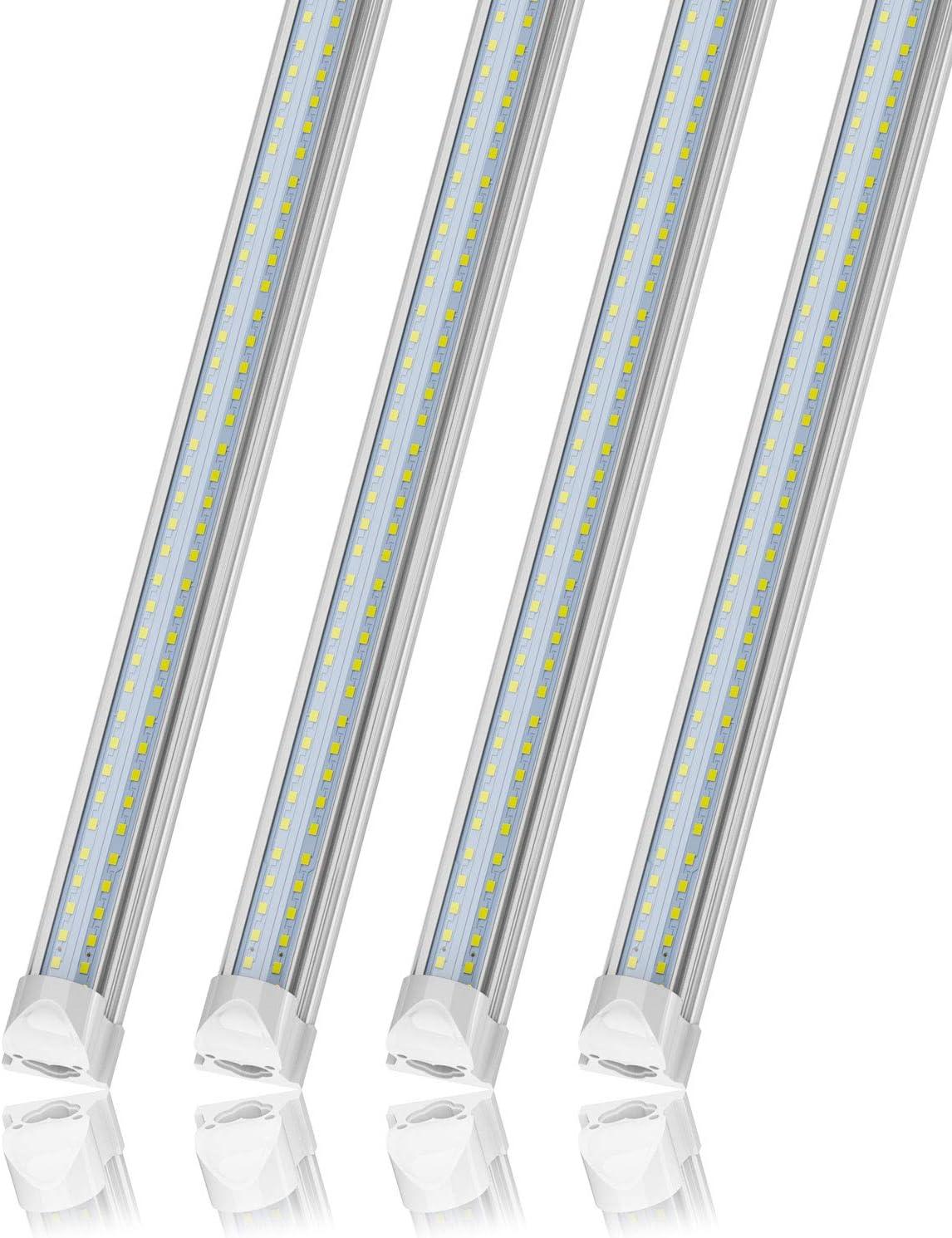 SHINESTAR 4-Pack 4FT LED Shop Lights Daylight 5000K, 40W 5500 Lumen Bright T8 LED Tube Light, Linkable Integrated Lighting Fixture for Shop, Garage Ceiling, Basement, Warehouse, Workshop, Plug in