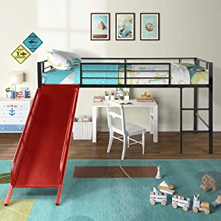 Harper&Bright Designs Twin Loft Beds for Kids, Metal Loft Bed with Slide, No Box Spring Required, Red