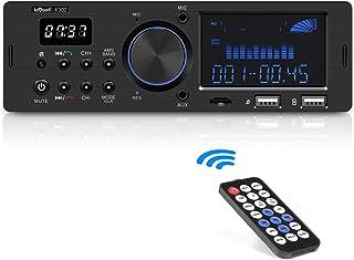 ieGeek Autoradio mit RDS Bluetooth Freisprecheinrichtung, Duales LCD Display mit Uhr, 2 USB Anschlüsse FM/AM / MP3 / AUX/SD Funktion, 1 Din Autoradio mit 30 Speicherplätzen und Stromausfallspeicher