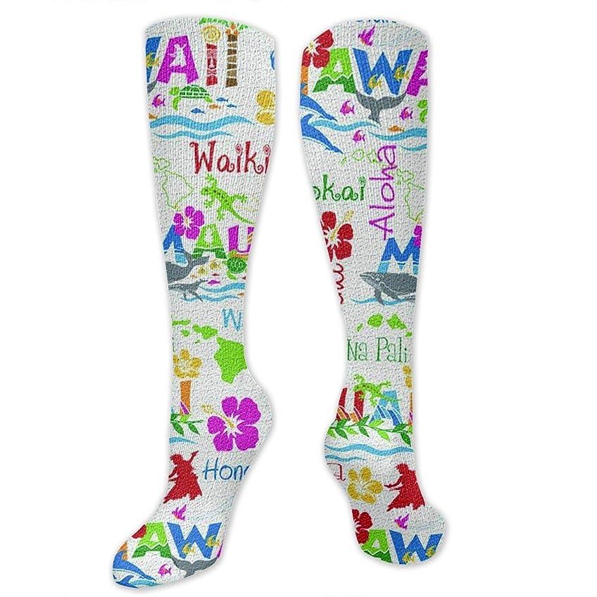 フロント白菜医学靴下,ストッキング,野生のジョーカー,実際,秋の本質,冬必須,サマーウェア&RBXAA Hawaiian Adventures Socks Women's Winter Cotton Long Tube Socks Knee High Graduated Compression Socks