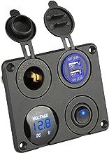 Thlevel 4-en-1 Panel de Interruptor de Cargador de Coche, función Doble Cargador USB voltímetro de LED Interruptor zócalo de Cigarrillos