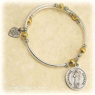 Archangel Raphael Wrap Bracelet Handmade Themed Charm Bracelet Jewelry Gift. Gold, Silver or Black Bead Option