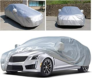 Anxingo Full Car Cover Waterproof All Weather for Sedan SUV Sun UV Snow Dust Rain Protection Dustproof Snowproof Universal Fits Most Car Full Covers (L,  178''-191'')