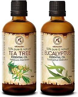 Ensemble Huiles Essentielles Aromathérapie - 2x100ml - Pure et Naturelle - HE Eucalyptus - HE Tea Tree - pour Diffuseurs -...