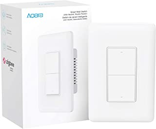 Aqara Smart Wall Switch (with Neutral, Double Rocker), Requires AQARA HUB, Zigbee Switch, Remote Control and Set Timer for Home Automation, Compatible with Alexa, Apple HomeKit, Google Assistant
