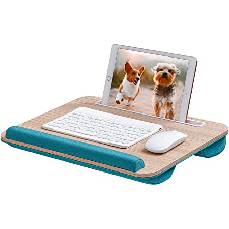 Rentliv Lap Laptop Desk - Portable Lap Desk with Cushion, Fits up to 15.6 inch Laptop, with Tablet Holder & Anti-Slip Strip Function, for Home Office Adults Kids Use as Laptop Stand, Book Tablet