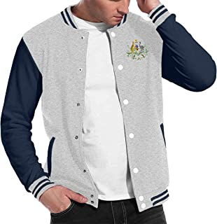 Mens Coat of Arms of Australia National Emblem Baseball Uniform Jacket, Varsity Jacket, Sport Coat, Lightweight Outwear