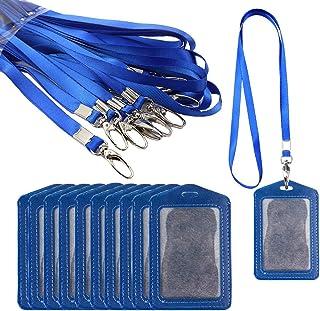 Aweisile tour de cou badge 20 Pcs bleu Vertical Porte Badge et Cordon Badge avec crochet pivotant étiquettes de protection...