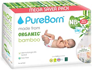 PureBorn New Born Diapers, Single Pack, 0 - 4.5 kg, 136 Assorted print