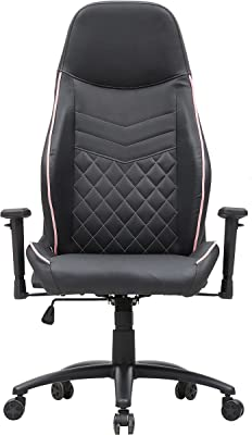 ioHOMES Suni Modern Adjustable Height Faux Leather Gaming Chair, Black and Pink