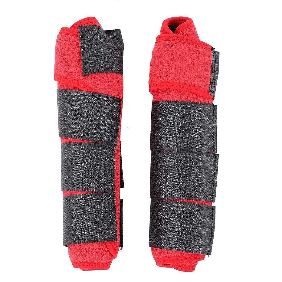 勇者手段ジャンクションホースブートレッグプロテクター 調節可能 ホース スプリント テンドン レッグサポートラップ フットガード 装置 1ペア 5色(赤)
