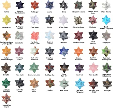 JUST IN STONES Wholesale Lot 24pcs Multi-Color Carved Gemstone 1 inch Merkaba Star Healing Sacred Geometry Chakra Stone