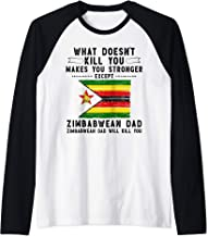Zimbabwe Dad Gifts for men Fathers Day White Raglan Baseball Tee