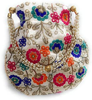 JainSaab Pack of 2 Embroidery Matka Potli with Pearl Handle, Shagun Pouch Potli in, Engagement and Festivals