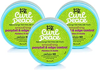 Just for Me Curl Peace Smoothing Ponytail & Edge Control (3 Pack) - Finishes & Holds, Contains Flaxseed, Avocado Oil & Black Castor Oil, 5 oz