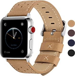 Fullmosa Compatible Apple Watch Band 38mm 40mm 40mm 42mm 44mm 44mm, Breeze Leather iWatch Band Compatible Apple Watch SE & Series 6 5 4 3 2 1