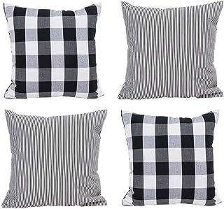 HOPLEE Farmhouse Pillow Covers 18x18 Black Throw Pillow Cover with Buffalo Checker & Stripe Design Set of 4