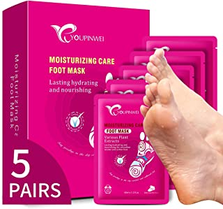 YOUPINWEI 5 Pairs Premium Moisturizing Foot Mask Treatment for Cracked Heels and Dry Feet Deeply Repair, Care for Long-las...
