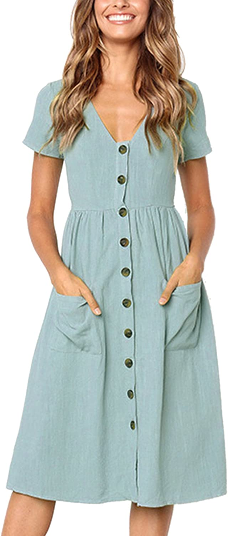 Angashion Women's Dresses-Short Sleeve V Neck Button Decoration T Shirt Midi Skater Dress