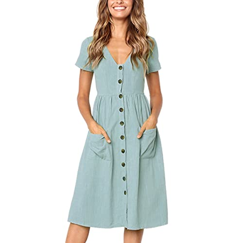 b707fb39 Angashion Women's Dresses-Short Sleeve V Neck Button T Shirt Midi Skater  Dress with Pockets