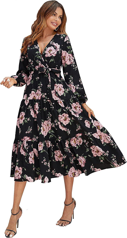 Laqeyko Womens 2021 Boho Fall Floral Print Ruffle Wedding Guest Deep Wrap V Neck Long Sleeve Casual Flowy Party Maxi Dress