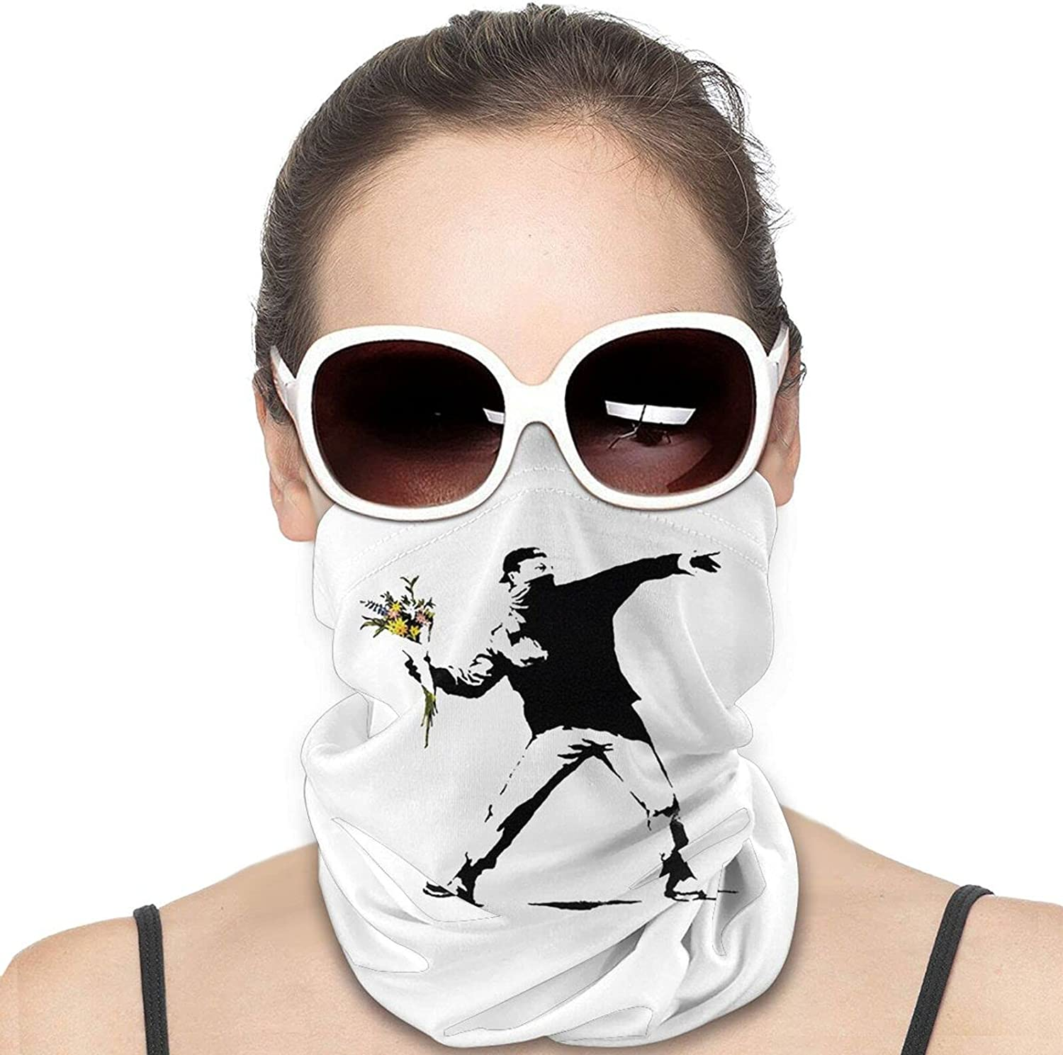 Rage Flower Bomber Stencil Banksy Round Neck Gaiter Bandnas Face Cover Uv Protection Prevent bask in Ice Scarf Headbands Perfect for Motorcycle Cycling Running Festival Raves Outdoors