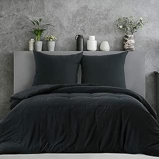 2tlg Bettwäsche MAKO SATIN Baumwolle Bettbezug 135x200 cm NEU mit RV Uni Schwarz