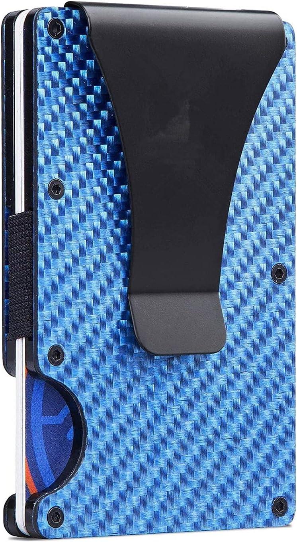 Carbon Fiber Metal Wallets for Men, Slim Minimalist Front Pocket RFID Blocking Credit Card Holder Aluminum Money Clip Wallet