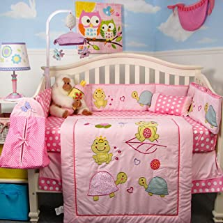 SoHo Baby Crib Bedding 10Pc Set, Pink Frogs Party