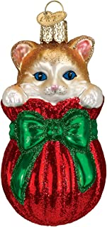 Old World Christmas Glass Blown Ornament with S-Hook and Gift Box, Cat Collection (Letting the Cat Out of the Bag)