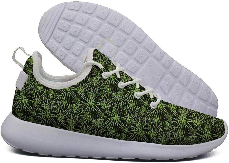 Hoohle Sports Womens Green Best Cannabis Flex Mesh Roshe 2 Lightweight Print Road Running shoes