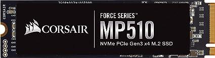 Corsair MP510 Force Series - SSD M.2 NVMe PCIe 3 x4 de Adecuada Velocidad de 960 GB (Velocidad de Lectura Secuencial de Hasta 3480 MB/s y de 3000 MB/s de Escritura Secuencial, Formato), Negro
