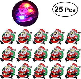 LUOEM 25 Pcs Led Christmas Brooch Santa Claus Badge Brooch Christmas Light Up Party Favors for Children Holiday Party Gift
