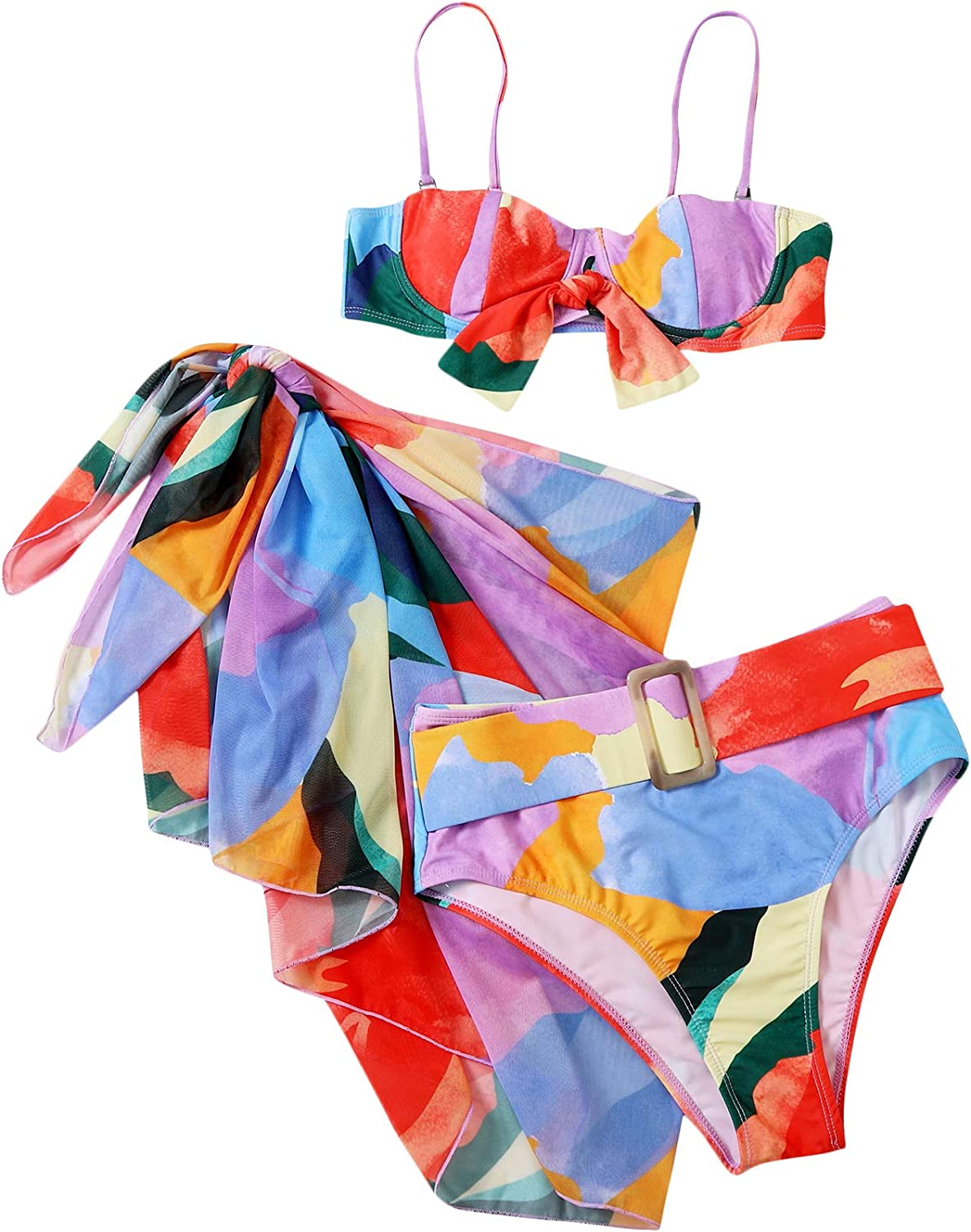 SOLY HUX Women's Color Block High Waisted Bikini Bathing Suits with Beach Skirt 3 Piece Swimsuits Multi S