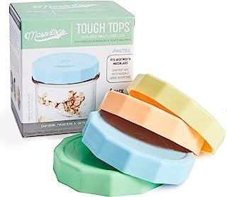 Masontops Tough Tops - Wide Mouth Mason Jar Lid - Multi Color - BPA-Free Plastic Screw Caps - Reusable Airtight Storage Co...