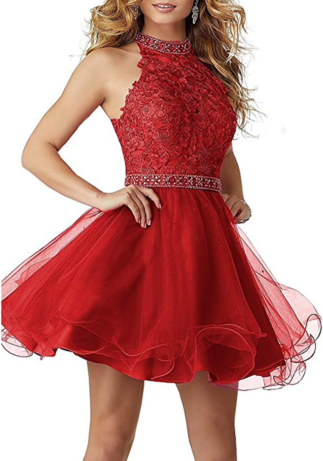 Alilith.Z Sexy High Neck Lace Beaded Crystal Short Homecoming Cocktail Dresses Halter Prom Party Dresses for Women