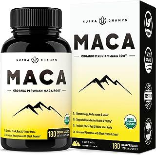 Organic Maca Root Powder 2100 MG [USDA Certified 180 Capsules] Energy & Mood Supplement for Men & Women - Vegan Pills, Per...