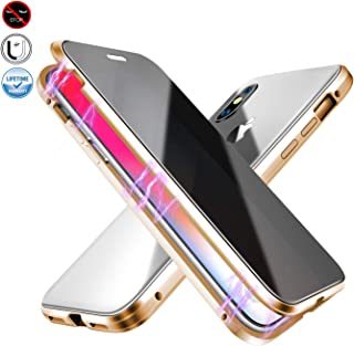 Anti-peep Magnetic Case for iPhone XR,Anti Peeping Magnetic Adsorption Double-Sided Privacy Screen Protector Clear Back Metal Bumper Antipeep Anti-Spy Phone Cases Cover for iPhone XR-Gold