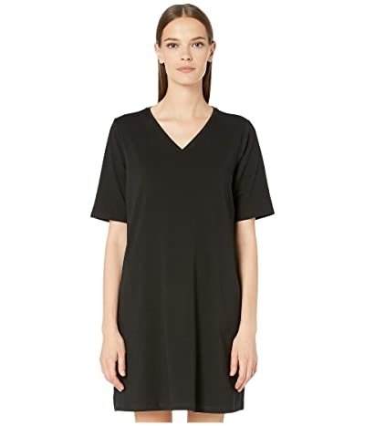 Eileen Fisher Organic Cotton Stretch Jersey V-Neck 3/4 Sleeve A-Line Dress (Black) Women