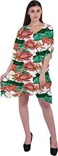 RADANYA Floral Women's Casual Loose Short Kaftan Dress 3/4 Sleeve Cotton Caftan