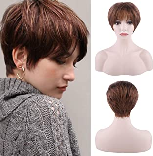Creamily Light Brown Short Wig with Bangs Synthetic Layered Pixie Cut Full Replacement Hair Free Parting Daily Wear Costume Party Wigs