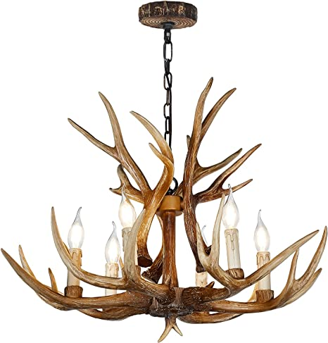 Antler Chandelier 6 Light Vintage Style Resin 28 Inch Large Faux Chandeliers American Countryside Deer Horn Lamps For Living Room Bar Cafe Kitchen Dining Room Amazon Com