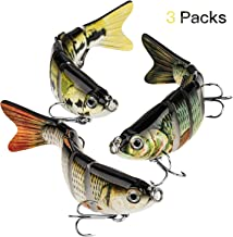 Fishing Lures Lifelike Topwater Bass Lures Artificial Multi Jointed Swimbaits Carbon Steel Hard Bait,Pack of 3