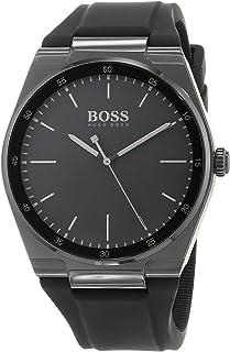 Hugo Boss 1513565 Men's Quartz Watch, Analog Display and Silicone Strap, Black