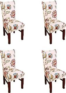 Argstar 4 Pack Chair Covers for Dining Room Spendex Slipcovers Spring Flower Design