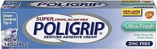 Super Poligrip Ultra Fresh Mint Flavor Zinc Free Denture Adhesive Cream, 1.4 ounce (Pack of 6)